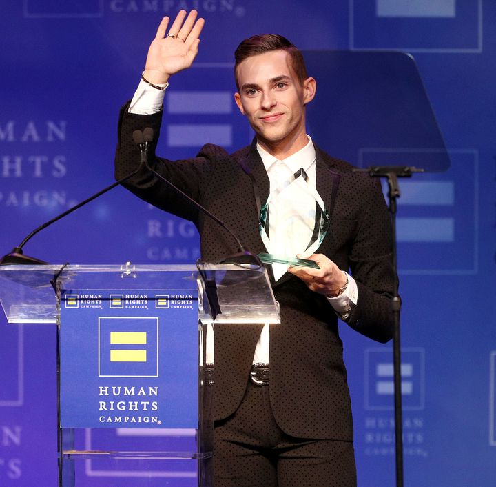 Rippon accepted the Visibility Award at the Human Rights Campaign 2018 Los Angeles Dinner on Saturday.