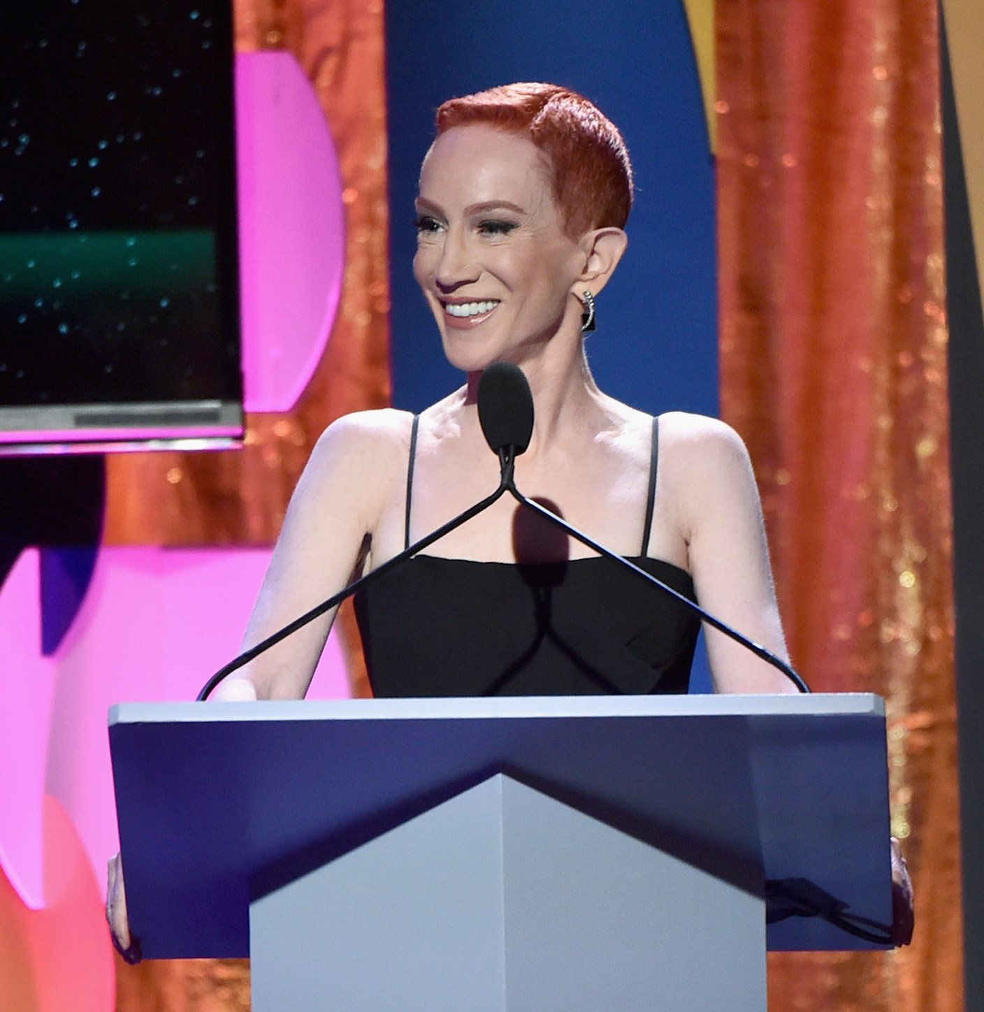 BEVERLY HILLS, CA - FEBRUARY 11:  Comedian Kathy Griffin speaks onstage during the 2018 Writers Guild Awards L.A. Ceremony at The Beverly Hilton Hotel on February 11, 2018 in Beverly Hills, California.  (Photo by Alberto E. Rodriguez/Getty Images for 2018 Writers Guild Awards L.A. Ceremony )