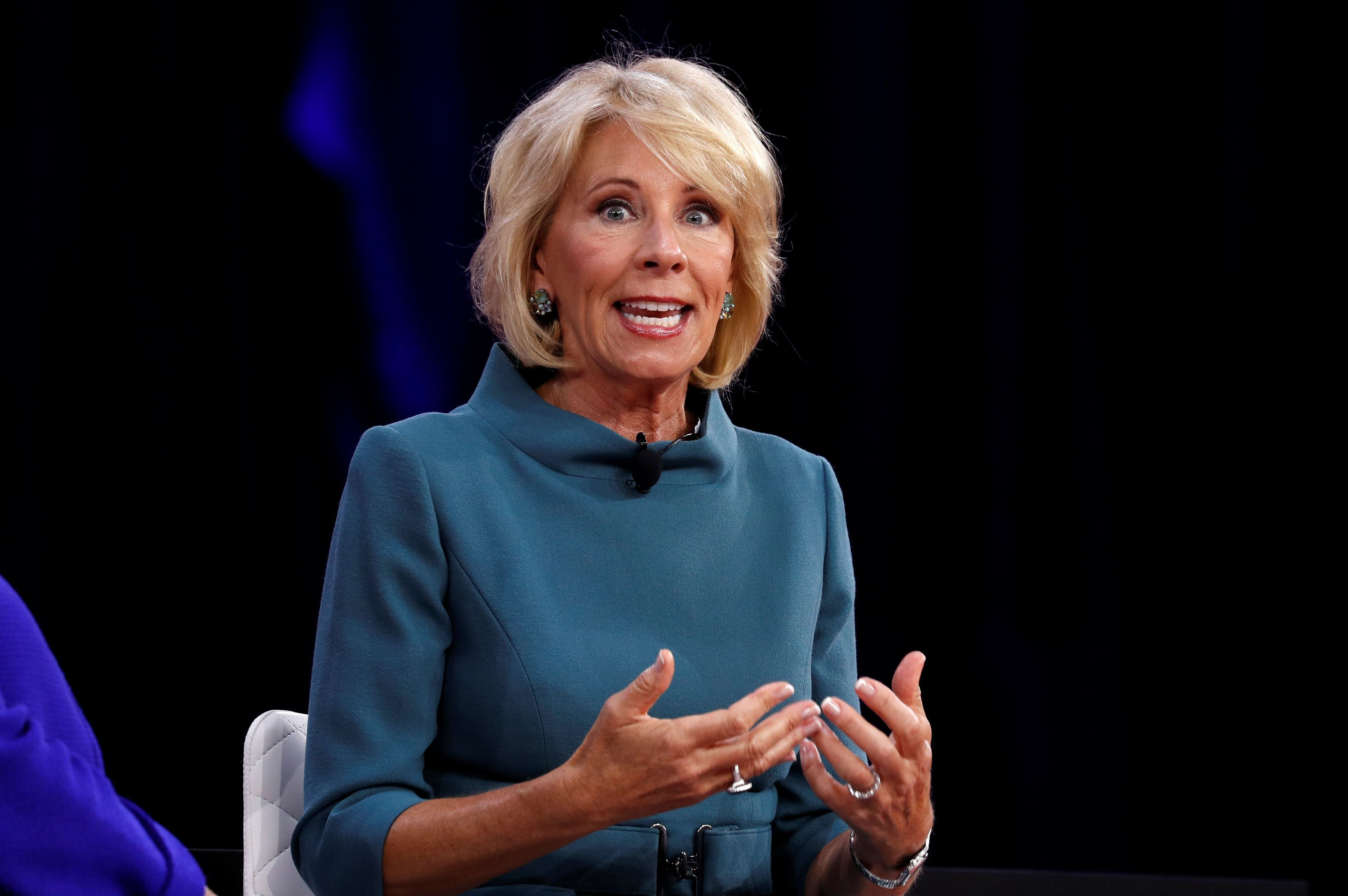 Education Secretary Betsy DeVos speaks at the Conservative Political Action Conference (CPAC) at National Harbor, Maryland,  U.S., February 22, 2018.  REUTERS/Kevin Lamarque