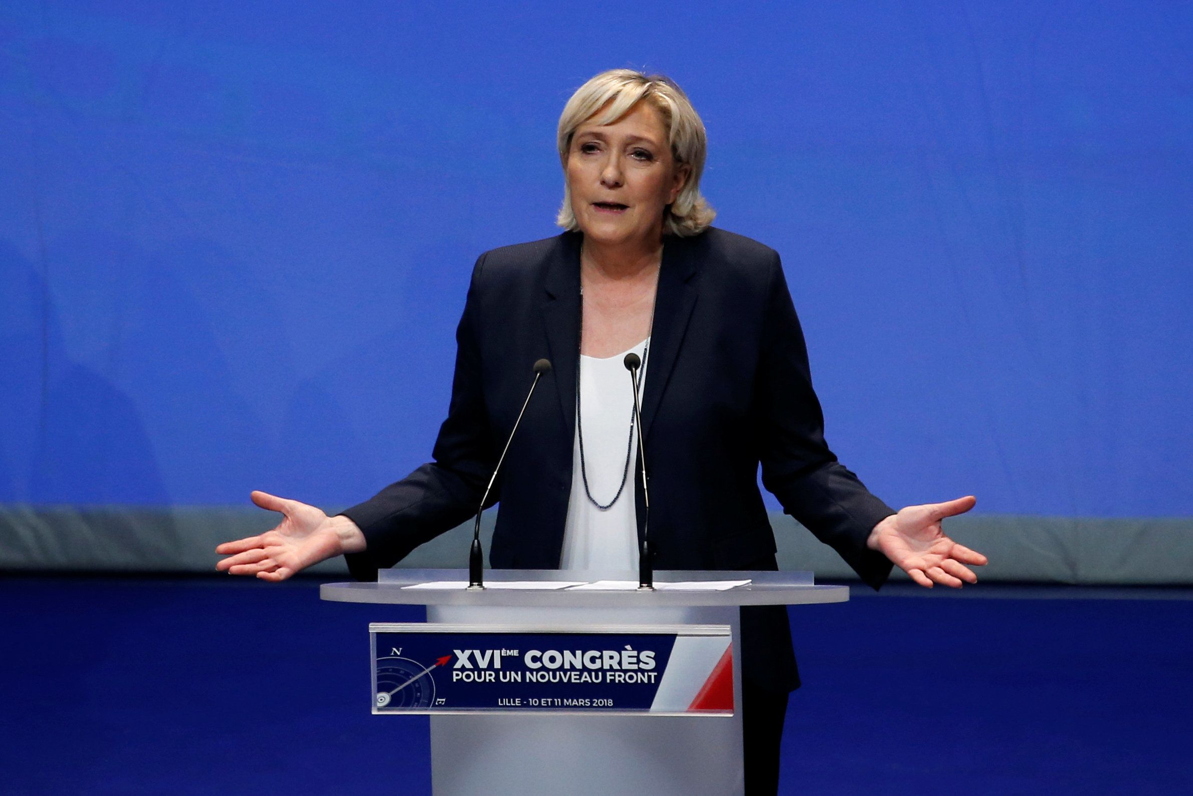 Marine Le Pen, National Front  (FN) political party leader, announces the new staff, during National Front's congress in Lille, France, March 11, 2018. REUTERS/Pascal Rossignol