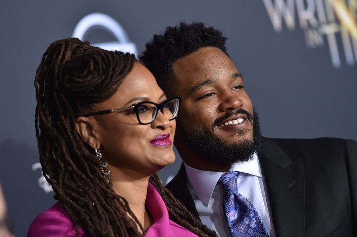 "Directors Ava DuVernay and Ryan Coogler arrive at the premiere of DuVernay's ""A Wrinkle In Time"" at El Capitan Theatre on Feb"