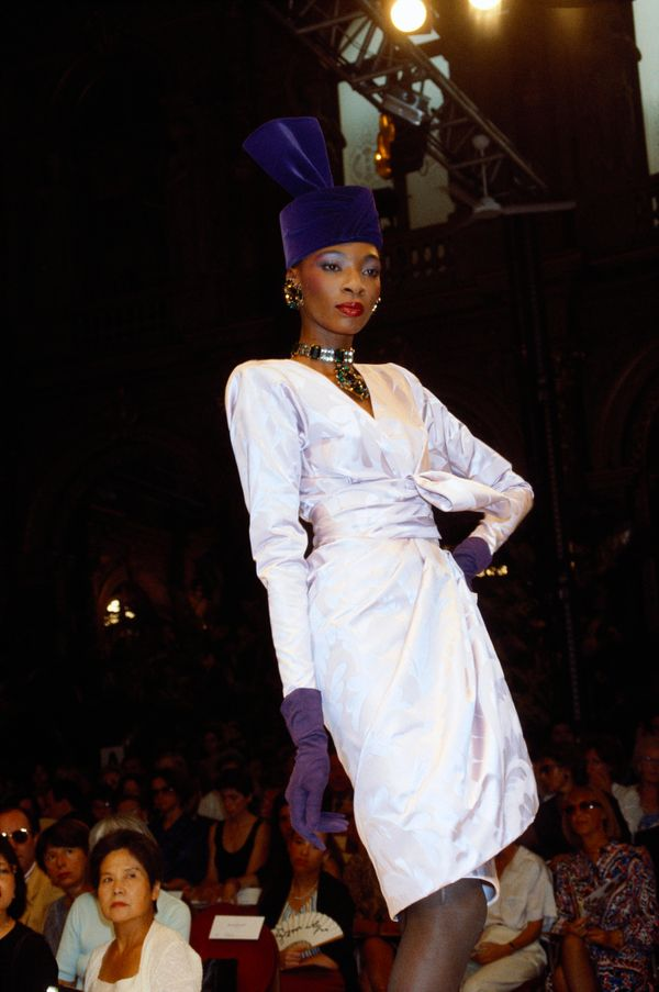 A model wears a design by the French designer for his fall/winter 1985-1986 couture show in Paris.