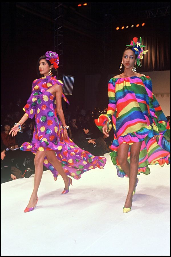 Models walk during the Givenchy spring/summer 1992 fashion show.