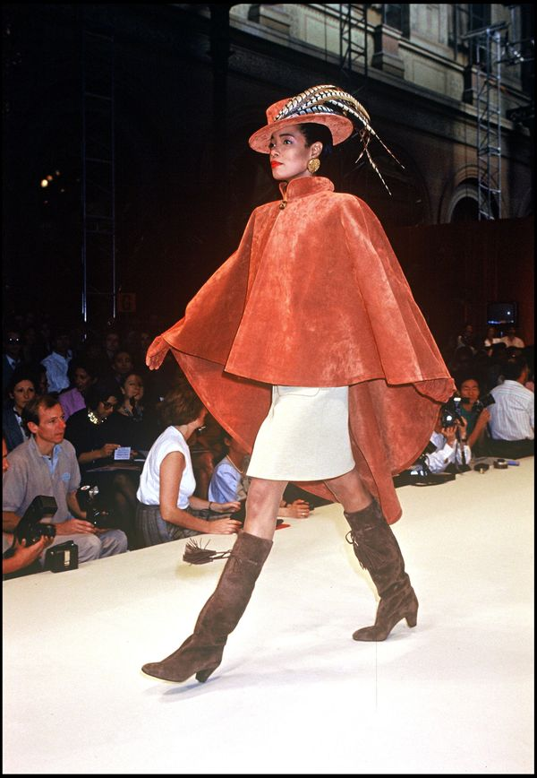 A model walks the runway during the Givenchy fall/winter 1991-1992 couture fashion show in Paris.
