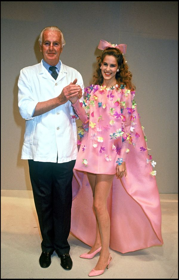 Hubert de Givenchy and his daughter at the spring/summer 1992 show in Paris.