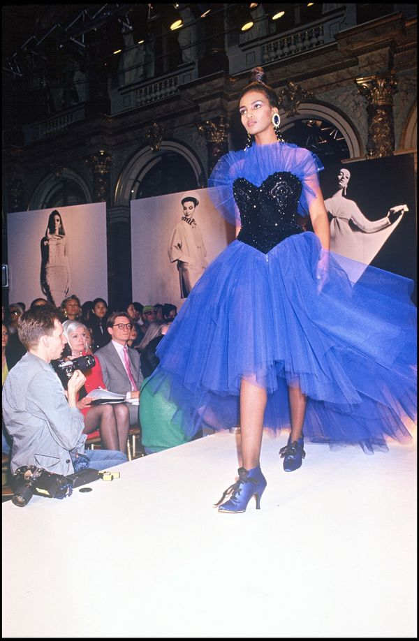 A model walks during the Givenchy fall/winter 1992-1993 couture show in Paris.