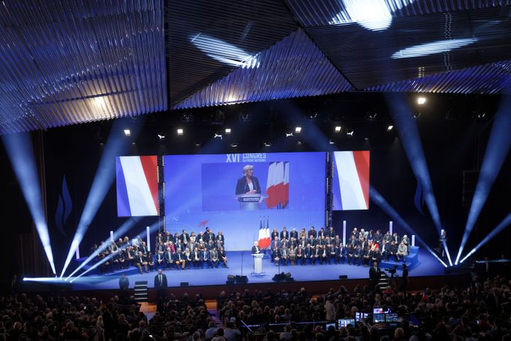 Le Pen was elected over the weekend to a third term as leader of the party whose name remains in flux.