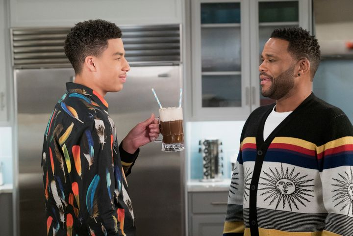 Junior (Marcus Scribner) and Dre (Anthony Anderson), pictured in another episode, debated the merits of NFL players kneeling