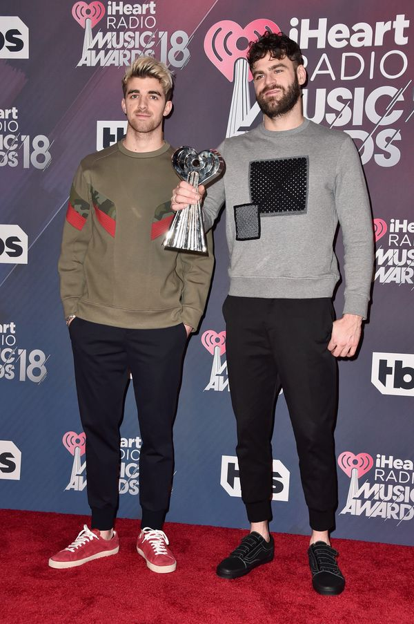 INGLEWOOD, CA - MARCH 11: Andrew Taggart (L) and Alex Pall of The Chainsmokers, winners of the awards for Best Collaboration