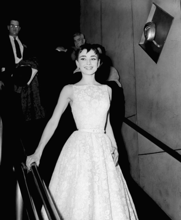 Hepburn wearing a Givenchy gown at the 26th annual Academy Awards at the Pantages Theater in Los Angeles on March 2