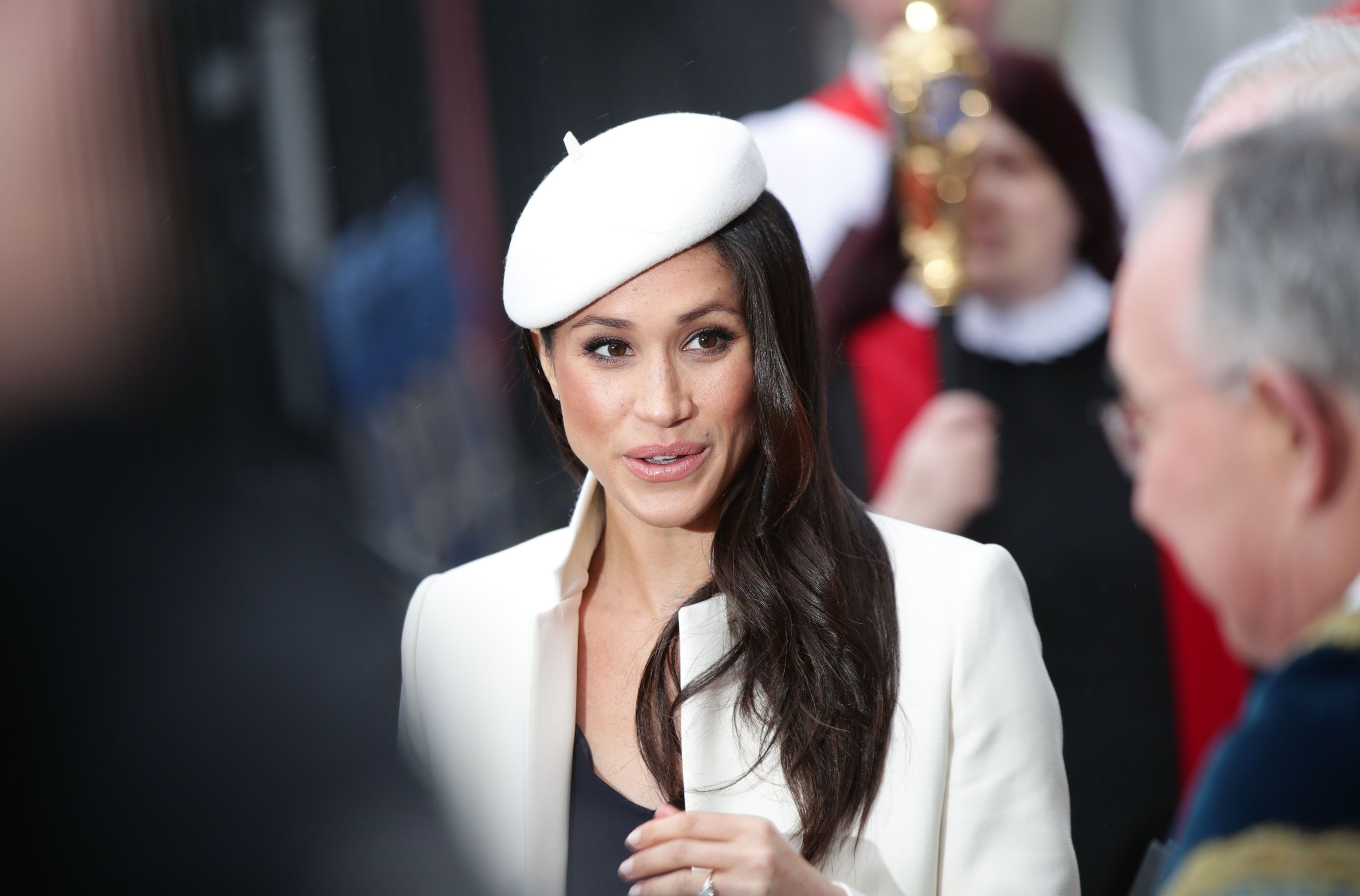 Meghan Markle leaves the Commonwealth Service at Westminster Abbey, London. (Photo by Yui Mok/PA Images via Getty Images)