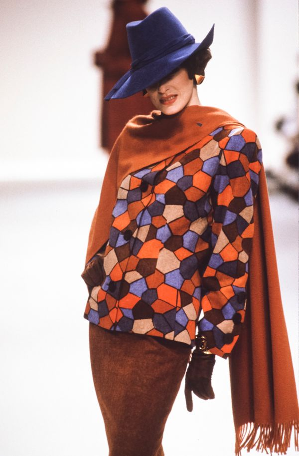 A model walks the runway at the Givenchy ready-to-wear fall/winter 1991-1992 fashion show during Paris Fashion Week in March