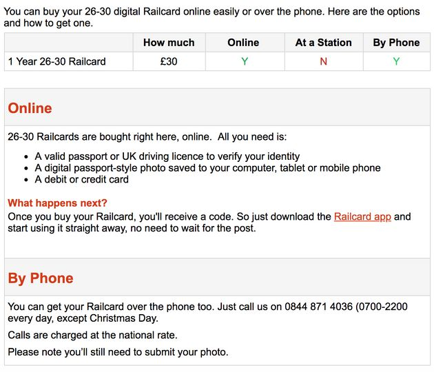 Advice on how to apply for a 26-30 railcard
