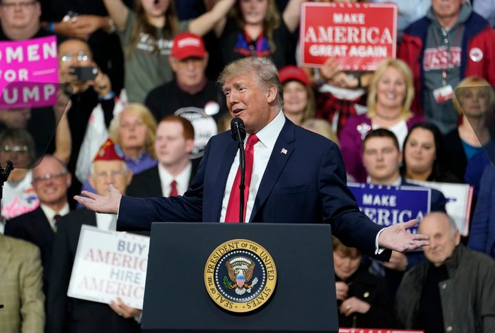President Donald Trump speaks at a rally for Republican Rick Saccone in Moon Township, Pennsylvania, on March 10, 2018.
