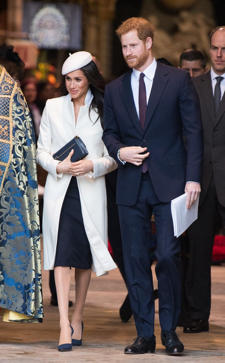 Prince Harry wore a navy suit for the occasion, as did Prince William.