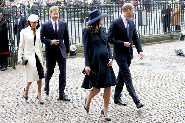 "The <a href=""https://www.reuters.com/article/us-britain-royals/britains-royal-fab-four-attend-first-official-event-together-idUSKCN1GC1OJ"" target=""_blank"">""fab four,""</a> as they've come to be known, make their way into Westminster Abbey."