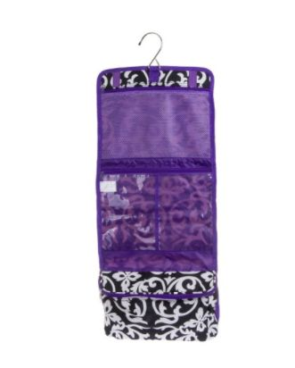 "Get it <a href=""https://jet.com/product/BlackWhite-Damask-Print-Hanging-Travel-Cosmetic-Case-Bag-withDark-Purple-Trim-NE/fae5"