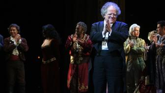 Curtain call at the 125th Anniversary Gala at the Metropolitan Opera House on Sunday night, March 15, 2009.This image;James Levine with, from left, Roberto Alagna, Angela Gheorghiu, Placido Domingo, Dmitri Hvorostovsky, Natalie Dessay (partially hidden) and Juan Diego Florez. (Photo by Hiroyuki Ito/Getty Images)