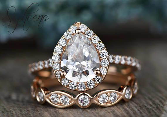 0ce56815e3c5a8 This pear-shaped moissanite engagement ring by seller Sapheena on Etsy also  features a moissanite