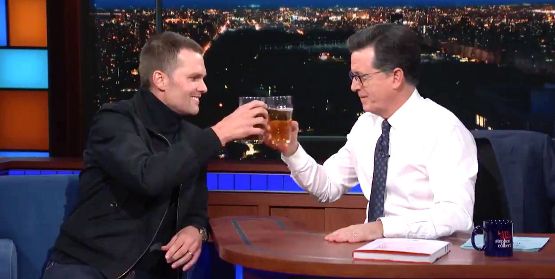 Tom Brady Destroys Stephen Colbert In A Beer Chugging Contest