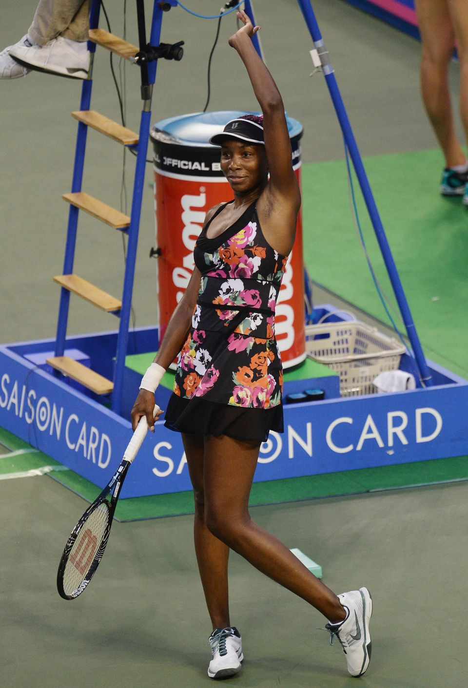 Venus Williams during her women's singles first round match against Mona Barthel of Germany during day...