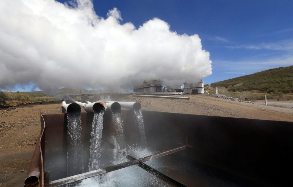 Steam rises from a section of the Olkaria IV geothermal power plant in the Rift Valley in Kenya.