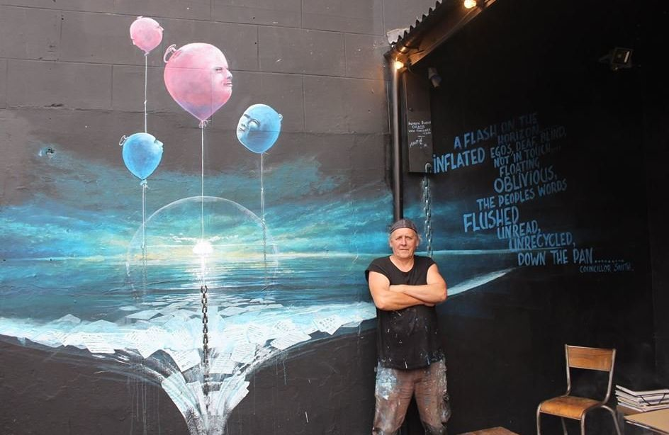 Street Artist Tackles Climate Change And Fascism, 1 Haunting Mural At A