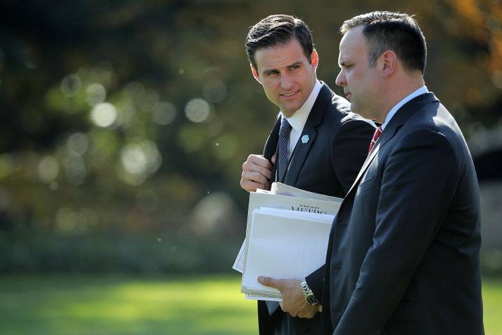 White House Personal Aide to the President John McEntee, left, is seen with White House Director of Social Media Dan Sca