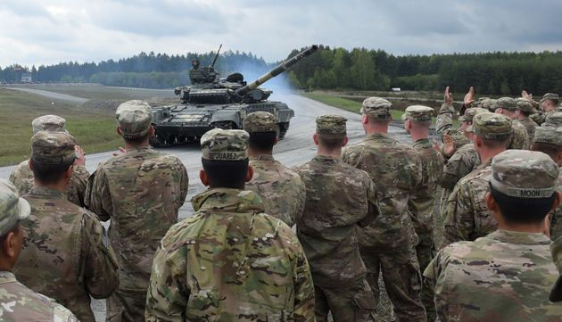 Platoons from NATO nations France, Germany, USA and their partners Austria and Ukraine take part in exercise 'Strong Europe Tank Challenge 2017' in southern Germany in 2017