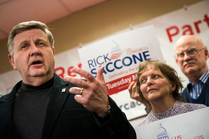 Republican Rick Saccone speaks at a get-out-the-vote event in Pittsburgh on Friday. His opposition to labor union priorities