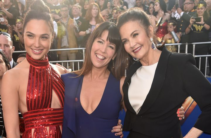 "Most recent ""Wonder Woman"" actress Gal Gadot (L), ""Wonder Woman"" director Patty Jenkins and Carter (R) at the premiere of the"