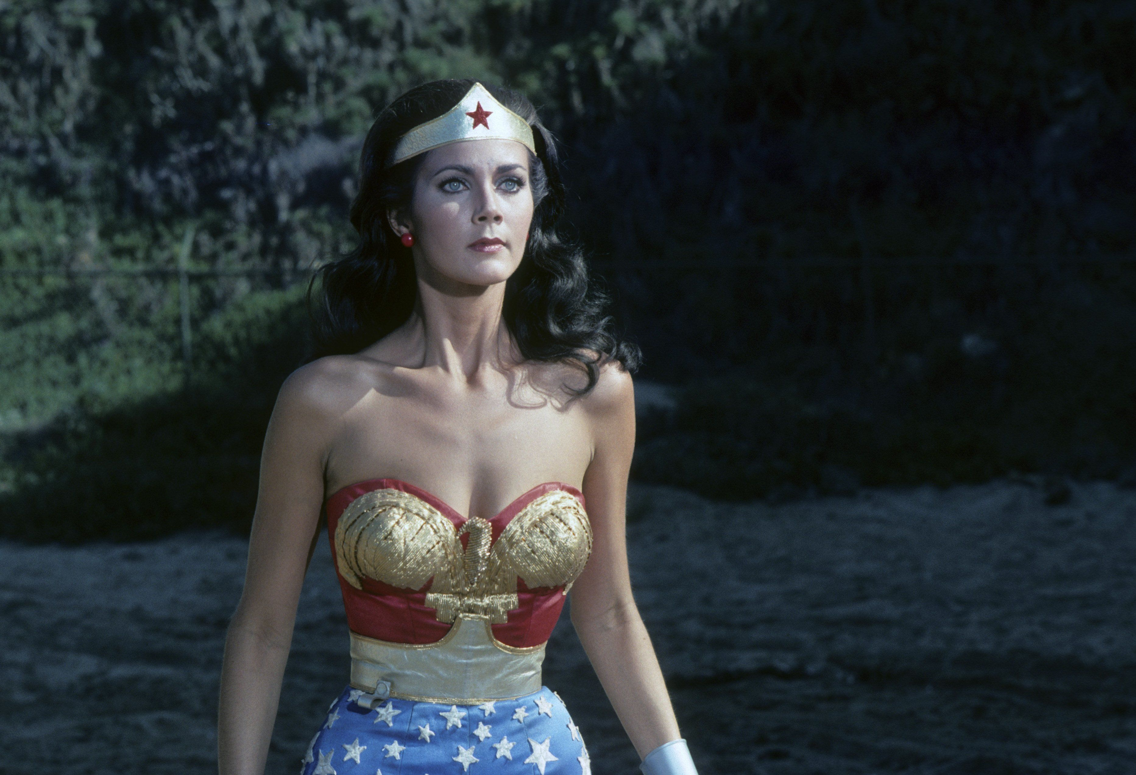 "Lynda Carter on the ""Wonder Woman"" set on Jan. 22, 1977."