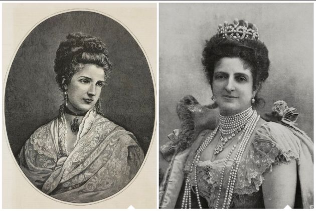 Margherita of Savoy pre-pizza in 1875, and post-pizza in a portrait that was released close to her death...