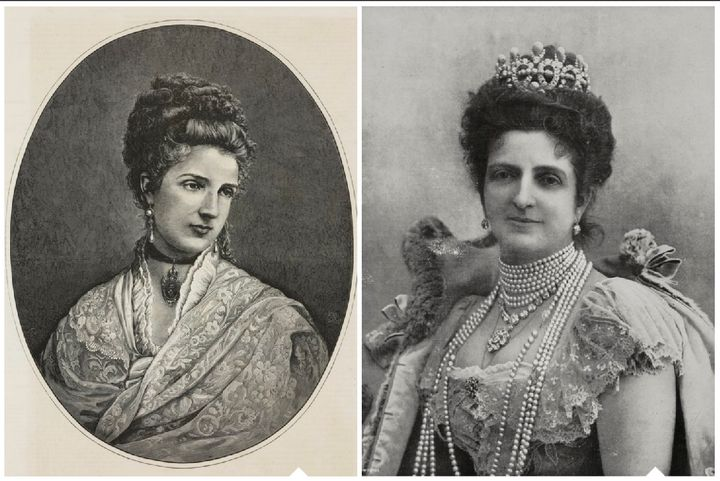 Margherita of Savoy pre-pizza in 1875, and post-pizza in a portrait that was released close to her death in 1926.