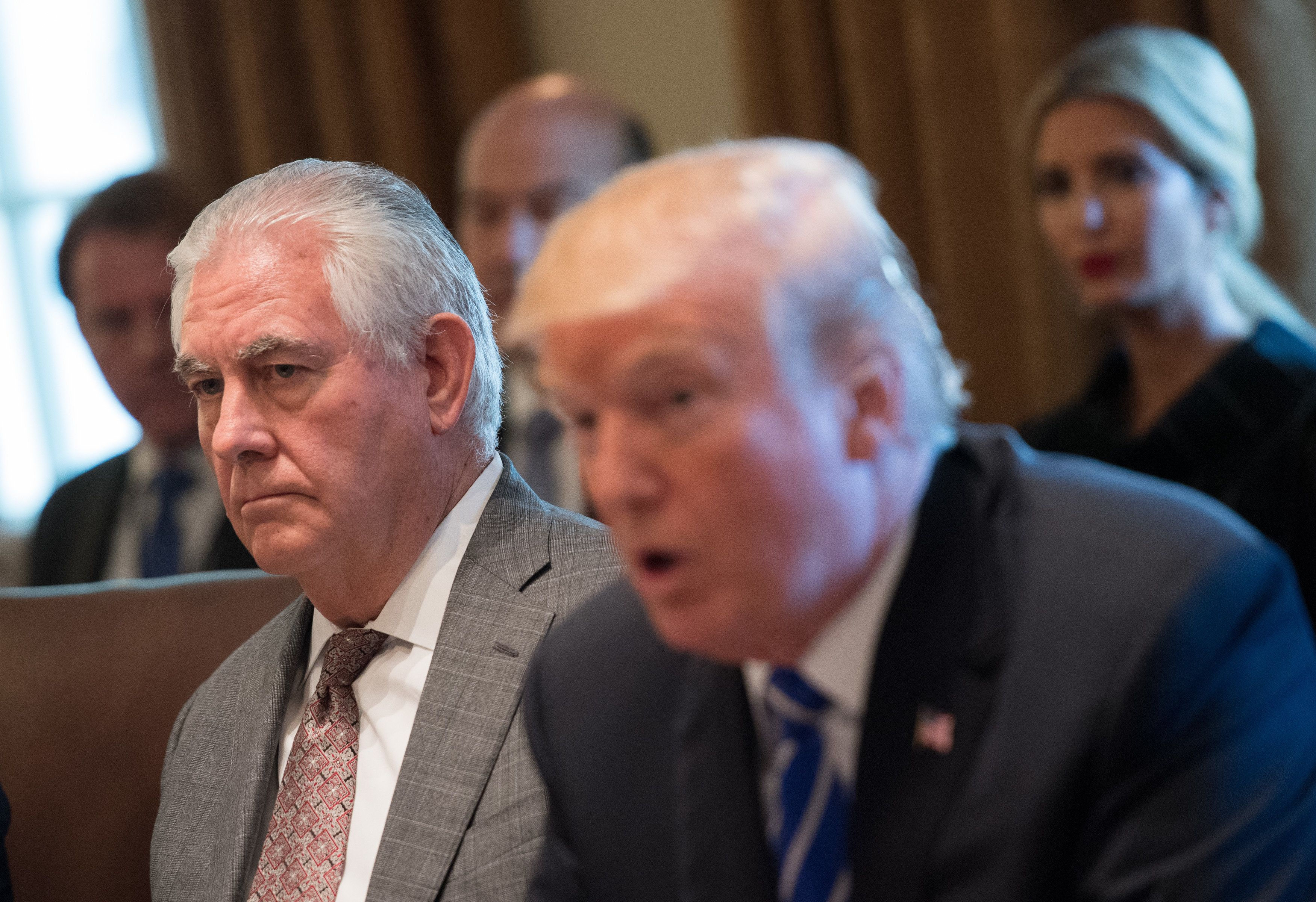 WASHINGTON, DC - NOVEMBER 20: (AFP OUT) Secretary of State Rex Tillerson listens as President Donald Trump speaks to the media during a cabinet meeting at the White House on November 20, 2017 in Washington, D.C. President Trump officially designated North Korea as a state sponsor of terrorism. Photo by Kevin Dietsch/UPI
