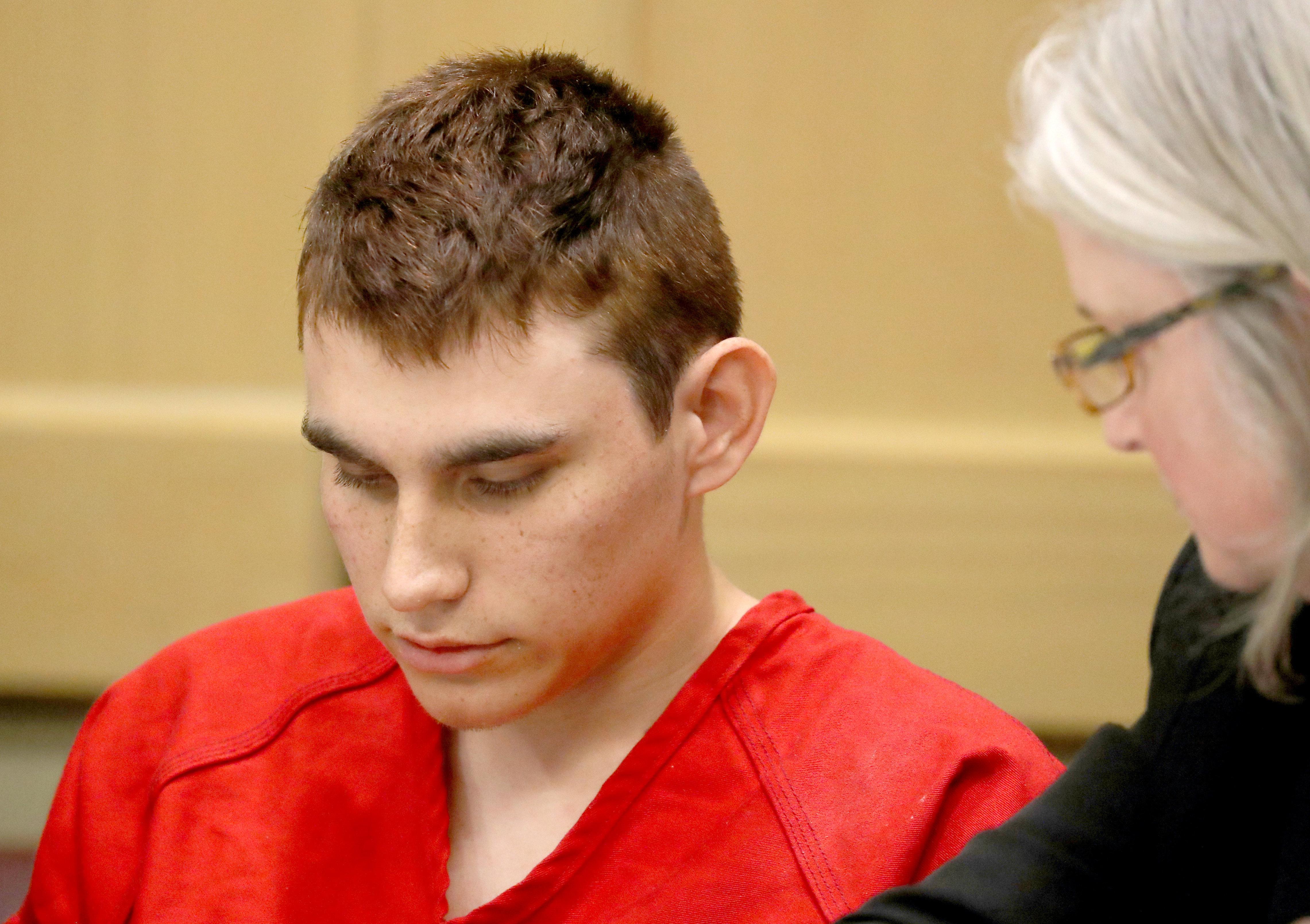 Nikolas Cruz, 19, appears in court in Fort Lauderdale, Florida, on Feb. 19.