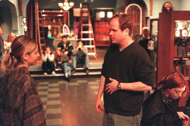 Joss Whedon directsSarah Michelle Gellar on the set of