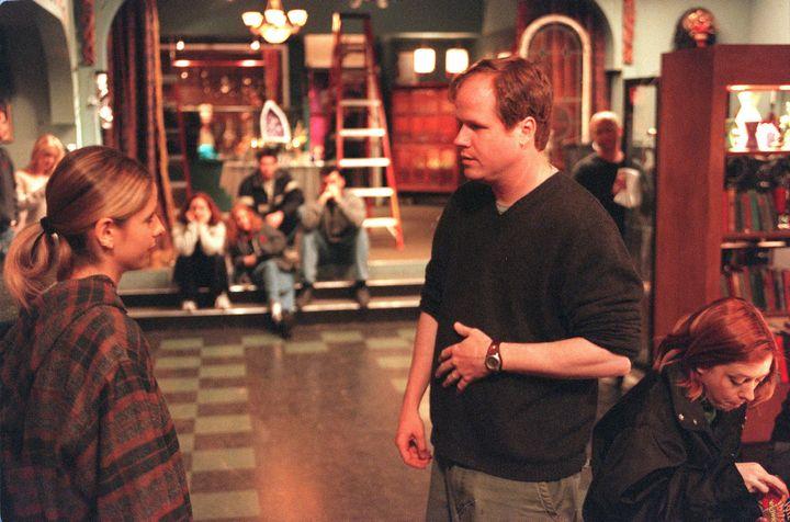 "Joss Whedon directsSarah Michelle Gellar on the set of ""Buffy the Vampire Slayer"" in 2001."