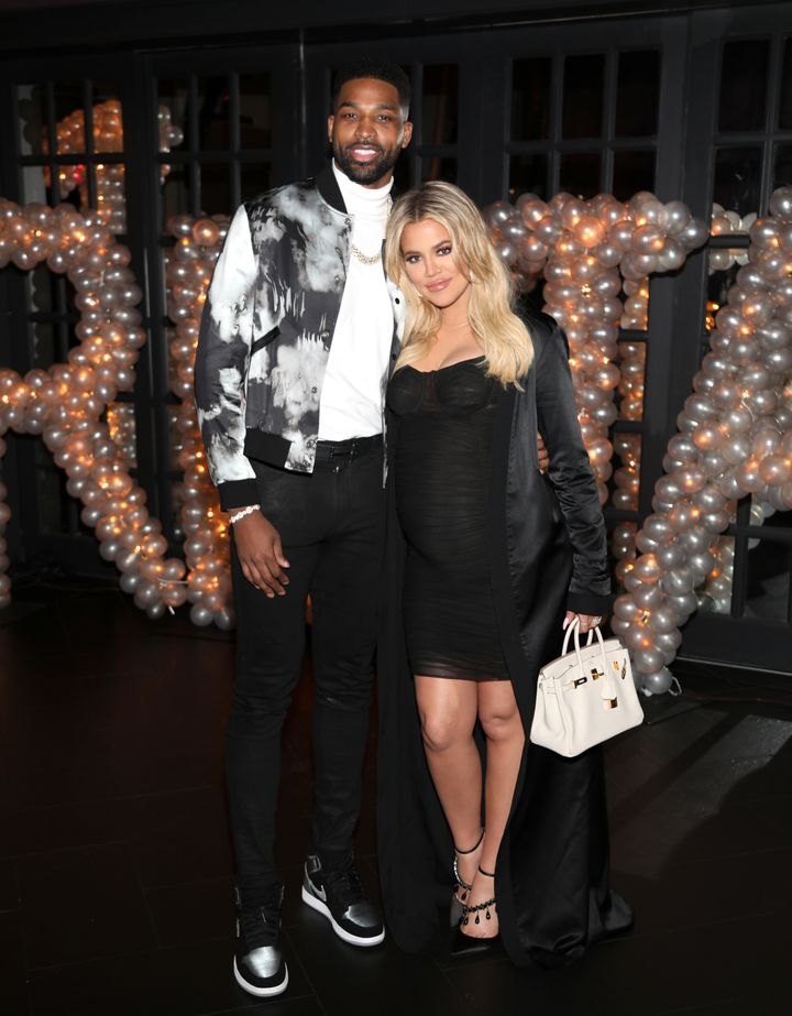 Tristan Thompson and Khloe Kardashian pose at his birthday party in March.