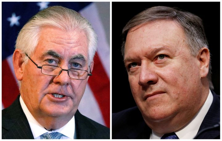 A combination photo shows Secretary of State Rex Tillerson, left, in Addis Ababa, Ethiopia, March 8, 2018, and CIA Director M