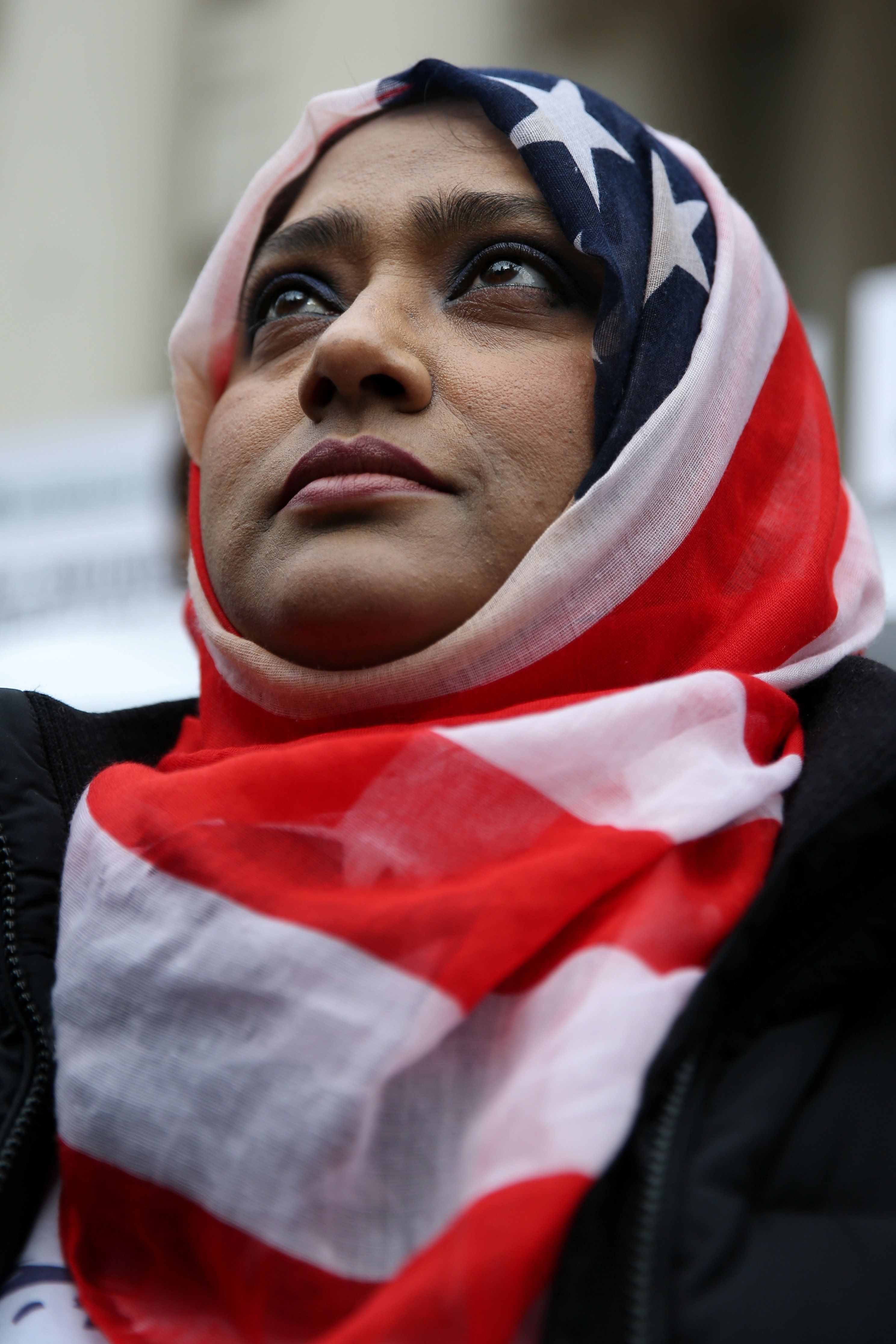 Muslim American Hoshneara Begum takes part in a World Hijab Day rally held in front of New York City Hall in Manhattan, New York, U.S., February 1, 2018. REUTERS/Amr Alfiky