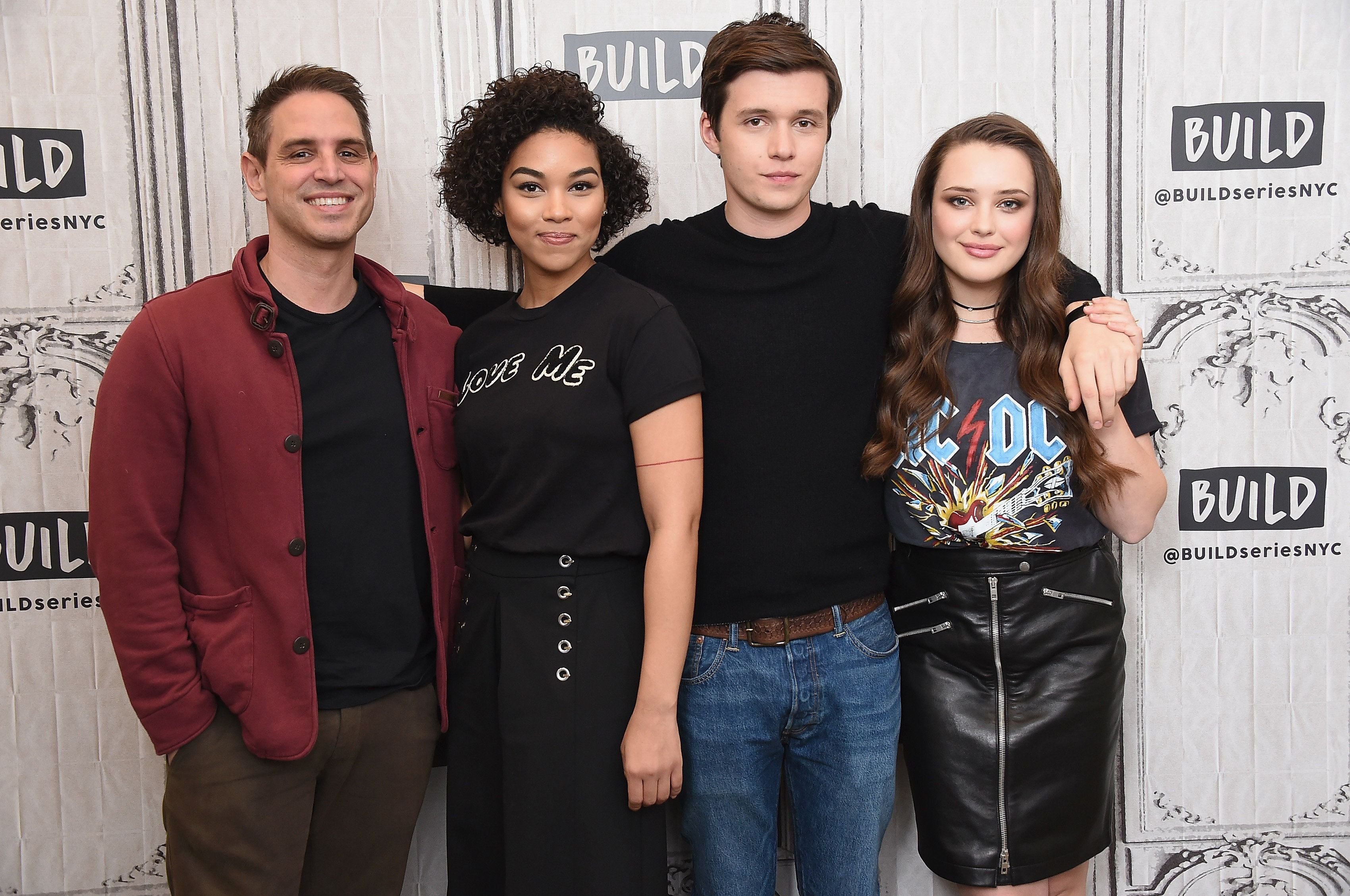 NEW YORK, NY - MARCH 08:  (L-R) Director Greg Berlanti, actors Alexandra Shipp, Nick Robinson and Katherine Langford visit Build Series to discuss the film 'Love, Simon' at Build Studio on March 8, 2018 in New York City.  (Photo by Gary Gershoff/Getty Images)