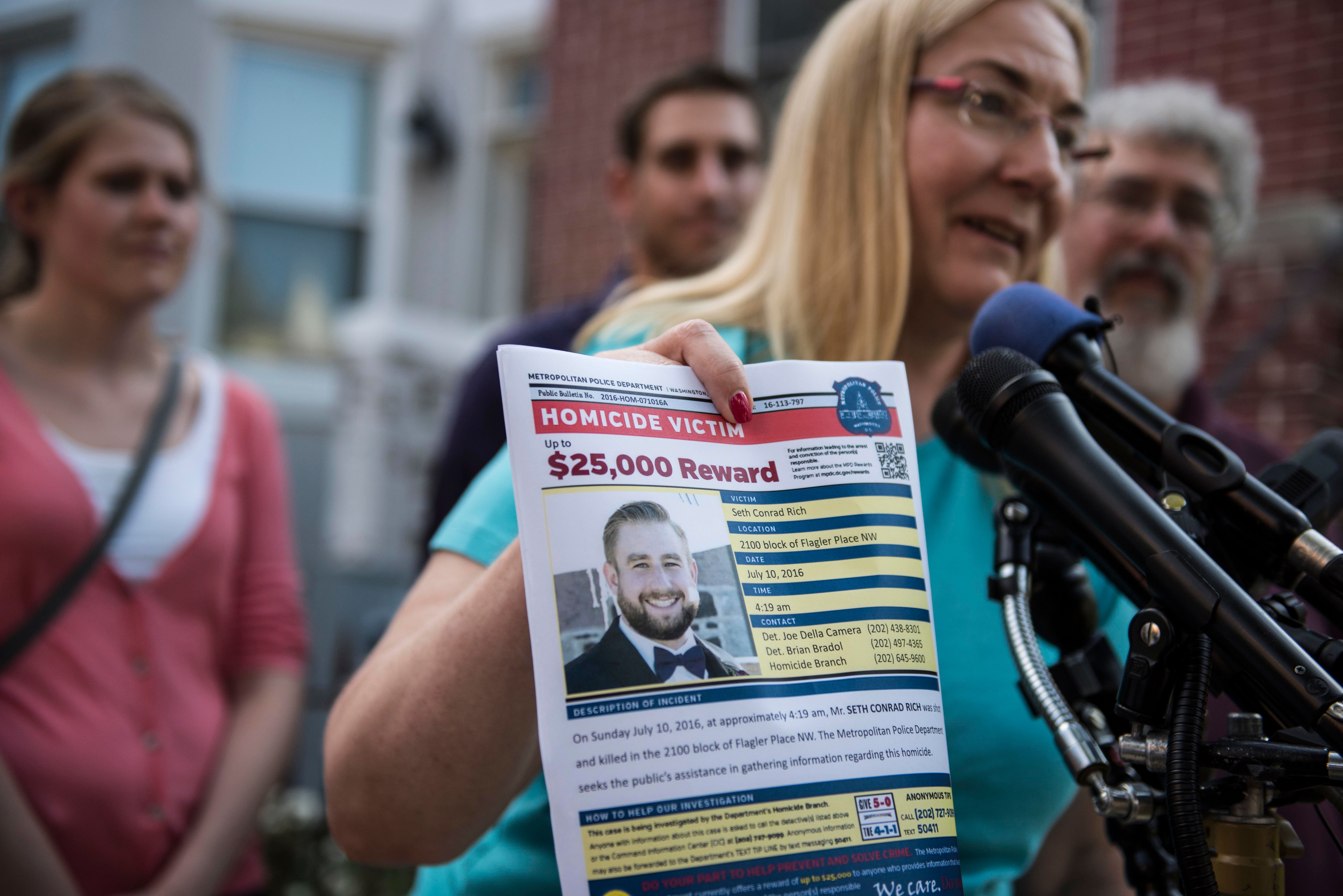 WASHINGTON, DC - AUGUST 4: Mary Rich, the mother of slain DNC staffer Seth Rich, gives a press conference in Bloomingdale on August 1, 2016. Seth Rich was gunned down in the DC neighborhood a month ago and the Rich's were imploring people for any information they may have about his killer. (Photo by Michael Robinson Chavez/The Washington Post via Getty Images)