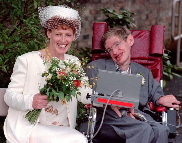 Hawking and Mason on their wedding day.