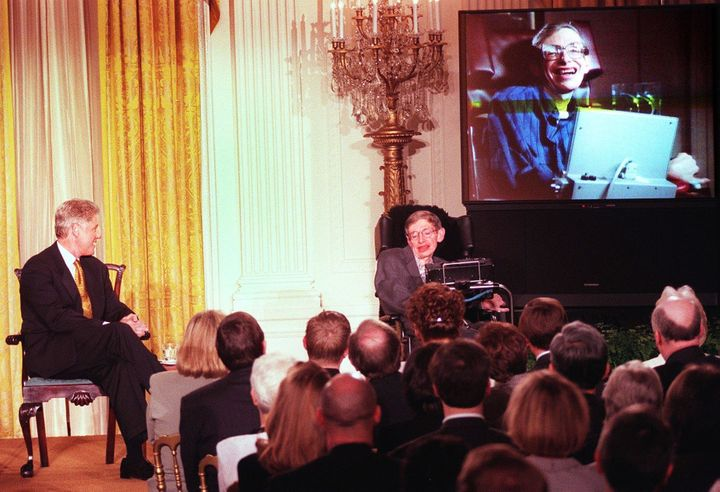Hawking with Bill Clinton at a White House screening of a scene from'Star Trek the Next Generation' in the 1990s.