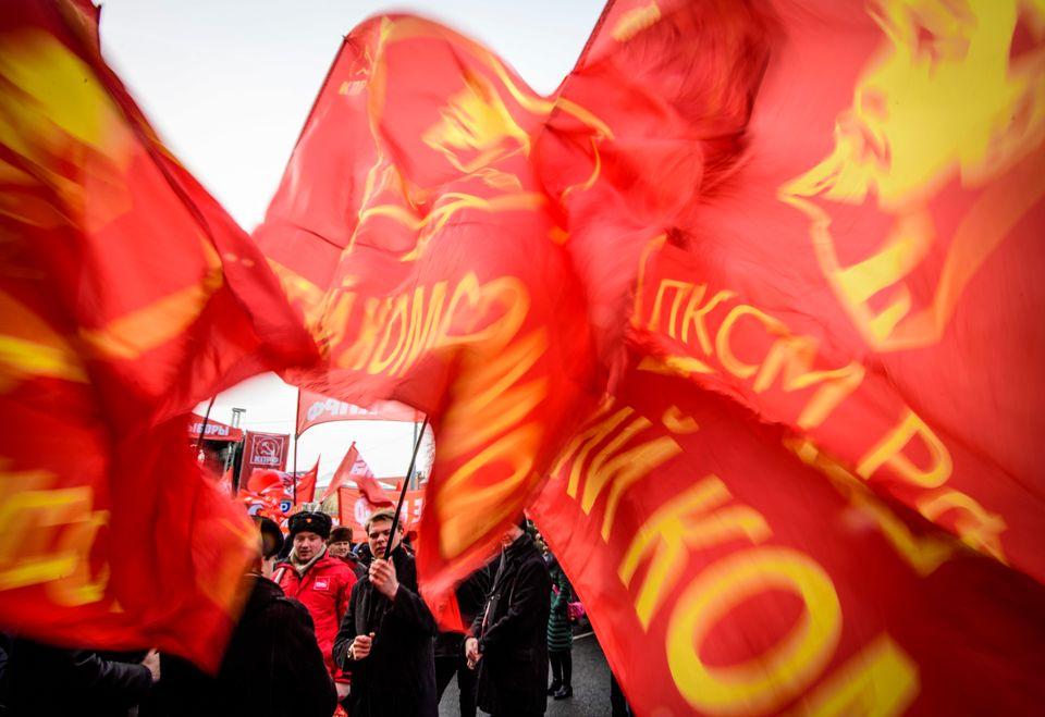 Anhänger des kommunistischen Präsidentschaftskandidaten Pawel