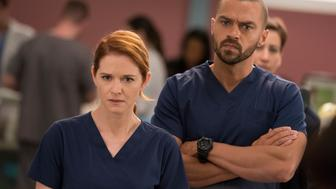 GREY'S ANATOMY - 'Personal Jesus' - A young boy is admitted to Grey Sloan Memorial and his case has a profound impact on the doctors. Meanwhile, April is faced with a surprising patient, and Jo continues to deal with her estranged husband, on 'Grey's Anatomy,' THURSDAY, JAN. 25 (8:00-9:00 p.m. EST), on The ABC Television Network. (Mitch Haaseth via Getty Images) SARAH DREW, JESSE WILLIAMS