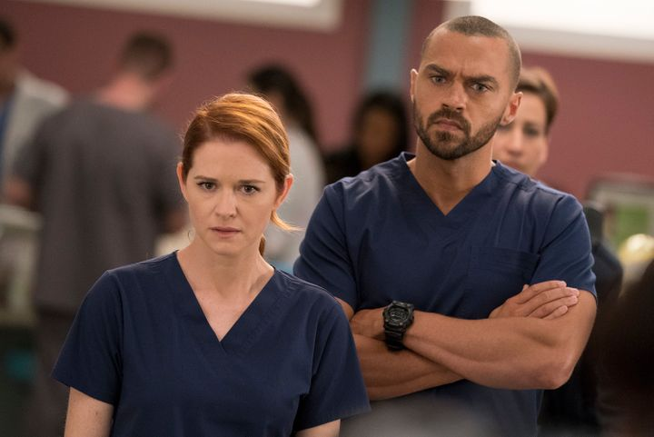 "Sarah Drew, pictured with Jesse Williams on ""Grey's Anatomy,"" will play Cagney in a reboot of ""Cagney & Lacey."""