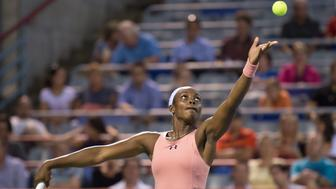 August 4th, 2014, Tennis player Sloane Stephens (USA) plays against Aleksandra Wozniak (CAN) in the first round at the Rogers Cup tournament in Montreal, Quebec, Canada.Stevens defeated Wozniak 6-3, 6-0. (Photo by Marc DesRosiers/ Icon SMI/Corbis via Getty Images)