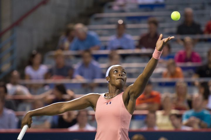 Sloane Stephens plays in the first round of the Rogers Cup tournament in Montreal on Aug. 4, 2014.